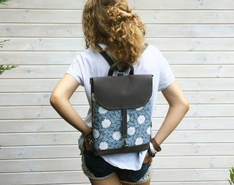Vegan Blue Mini Backpack, Women's Rucksack, Festival Small Bag, Floral Crossbody Bag, Boho Rucksack, Waterproof Backpack, Vegan Rucksack
