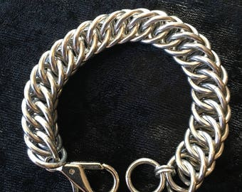 Chunky Chainmaille bracelet in bright aluminum