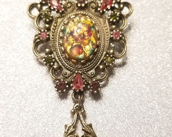 Vintage Multi Color Rhinestone Pin Brooch Goldtone Signed Coventry
