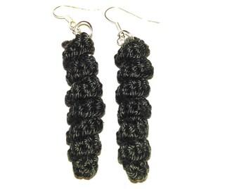 original crochet black earrings