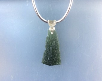 Sterling Silver Wire Wrapped Half Raw & Half Polished Genuine Natural Czech Republic Green Moldavite Pendant with Snake Chain Necklace