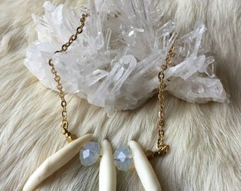 Opalite Coyote Teeth Necklace