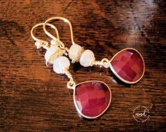 Ruby (Dyed) and Rainbow Moonstone Long, Dangle Earrings