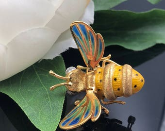 18K Bee Brooch, Bumble Bee Pin, 18K Yellow Gold Plique A Jour Enamel Bumble Bee Brooch, Made in Italy, Insect Bee Pin, Gardener Gift