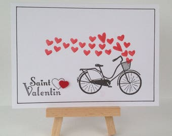 Valentine's day - bike - flight of hearts card