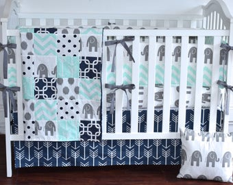 Navy, Mint and Gray Elephants Crib Bedding, safari nursery, toddler, quilt, patchwork blanket, bumpers, skirt, sheet