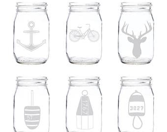 Etched Mason Jar Glasses (Set of 4) | Mason Jar Glasses | Mason Jar | Glassware Set | Glasses | Custom Glasses | Made in Maine