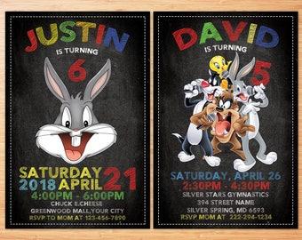 Bugs Bunny Birthday Invitation ,  Looney Tunes Birthday Personalized custom Invitation , Rabbit Bugs Bunny Personalized Invitation, Digital