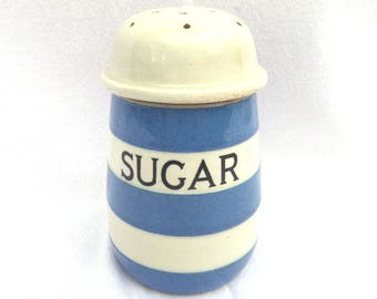 "Cornishware Sugar Shaker, Circa 1950, T.G. Green & Co Ltd, Made in England, Excellent Vintage Condition, 4.5"" x 3"""