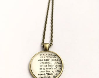 CREATE CREATION Vintage Dictionary Word Pendant