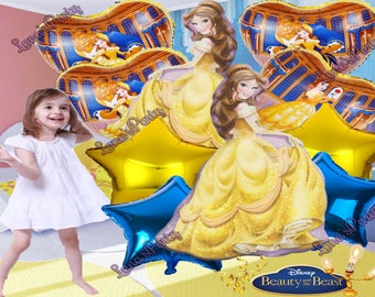 """10PC SET Jumbo Belle Beauty and the Beast Balloon for Princess Birthday Party 36 Inch 14"""" Disney balloons"""