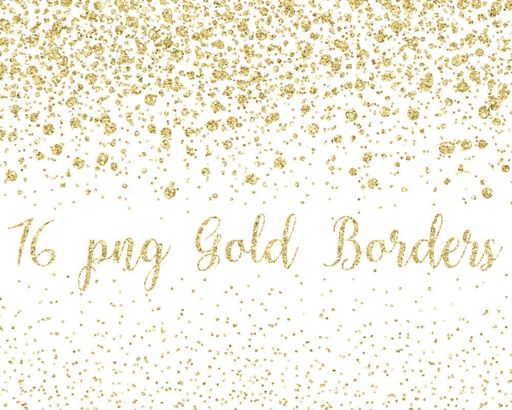Buy 3 for 9 USD - Gold Glitter Border, Confetti Borders ...