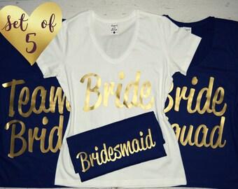 5 Bridesmaid V Neck Tees Gold Shirts Girls Wedding Party