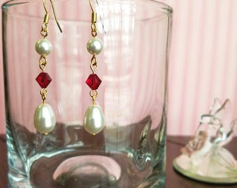 Valentine Pearls and Crystal Earrings