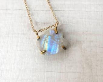 Rough Rainbow Moonstone Gold Vermeil Gold Filled Necklace