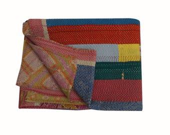 Vintage Kantha quilt Fine Quality Hand Stitching Indian Reversible Cotton Kantha Quilt  Throw Blanket