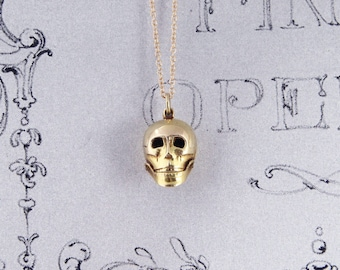 Vintage 9ct Gold Skull Charm Pendant, Fully Hallmarked Birmingham 1948 on Gold Chain