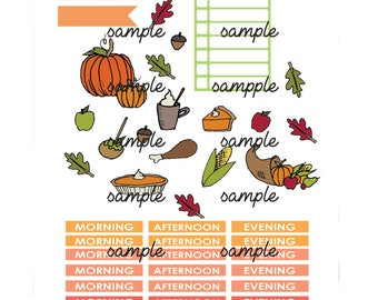 fall autumn thanksgiving printable planner sticker set basic