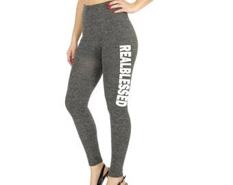 Womens Real Blessed High Waist Fitness/Athletic Yoga Pants Tights | Grey | Black