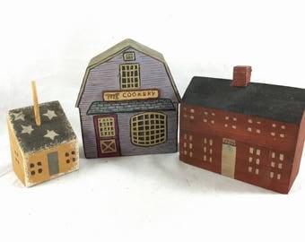 Set of 3 Miniature Wooden Buildings - Hand Carved Folk Art Miniatures - Miniature Town or Village