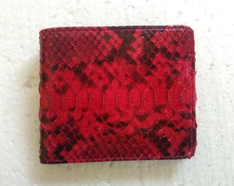 Handmade Python Snake Skin Leather Wallet. RED SNAKESKIN Bifold Wallet. Men's Python Snake Leather Slim Bifold Wallet Free Shipping