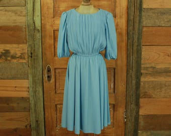 CLEARANCE vintage 1980s blue pleated bodice puffy sleeve full skirt dress M L 16