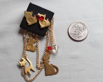Vintage Artisan 4 Point Tassel Cat Pin/Brooch
