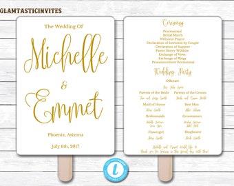 Wedding Fan Program Template, Gold Wedding Program Template, Ceremony Wedding Program, Wedding Fan, Wedding Template, YOU EDIT, Elegant, DIY