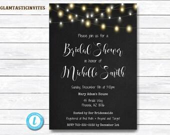 Rustic Bridal Shower Invitation, Chalkboard Bridal Shower Invitation, Bridal Shower Template, Template Invitation, Bridal Shower Invitation