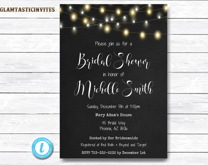 Rustic Bridal Shower Invitation, Chalkboard Bridal Shower Invitation, Bridal Shower Template, Template Invitation, Bridal Shower Invitation