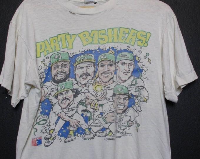 Oakland Athletics Party Bashers Big Heads MLB 1980s vintage Tshirt