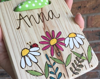 Wood burned and hand painted sign, kids room sign, personalized girl sign, girls bedroom sign, custom name door sign, sorority room decor,