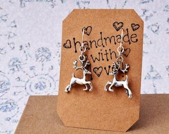 Christmas Earrings - Silver Reindeer Earrings, Secret Santa Gifts, Christmas Reindeer, Deer Earrings - Reindeer Jewelry