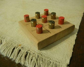 Wooden classic tic-tac-toe game 9mm casing brass