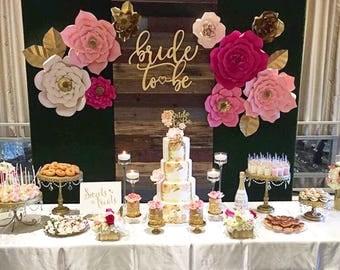 9 pc Paper Flower Set, Customize your colors! Bridal Shower Backdrop, Wedding, Nursery