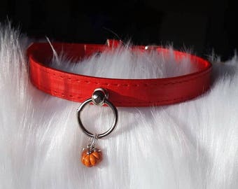 Red Pumpkin Faux Leather Collar