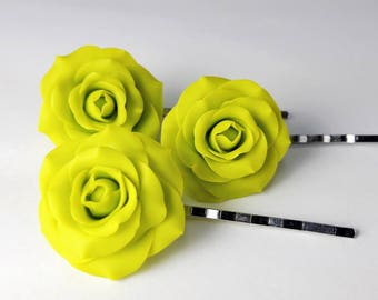 Green Roses. Rose Hair Pins. Set of 3. Polymer Clay Roses. Hair Accessories. Gift for Her. Bridesmaid's Gift. Handmade Jewelry