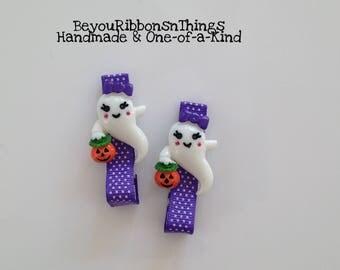 White Ghost w/Pumpkin   Hair Clips for Girls   Toddler Barrette   Kids Hair Accessories   Grosgrain Ribbon   No Slip Grip   Halloween