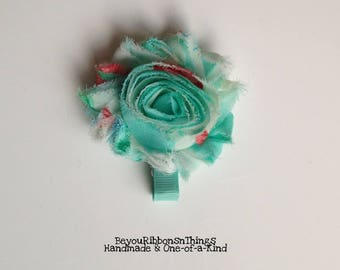 Aqua | Big Shabby Flower 2.5"