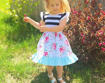 Rosy summer dress, girls floral rose dress, toddler birthday dress, newborn coming home outfit, infant sundress