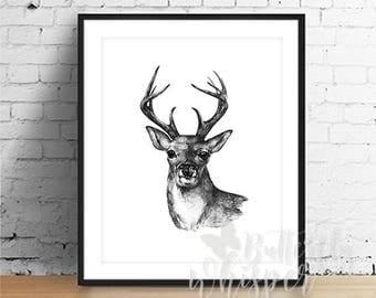 Black and White Deer Illustration Print, Minimalist Print, Dorm Decor, Monochrome wall art printable, Monochrome decor digital download