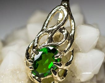 Chrome Diopside Gold Pendant art 10406 | Natural Organic Green Gemstone 14k Gold Necklace Fine Jewelry