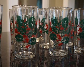 Set of 12 Indiana Glass Co Holly and Berry Glasses/ Holiday Glasses/ Christmas Cocktail Glasses/ Christmas Party/ Retro Glasses