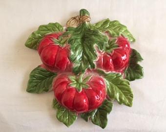 Vintage Italian Art Pottery Tomato Bunch Wall Hanging