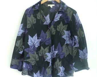 Leaf print blouse,autumn leaves button front blouse light cotton 3/4 sleeve coldwater creek purple black green fall leaf top womens m 10-12