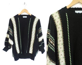 80s Striped Sweater Metallic Nordic Sweater Dolman Sleeves Sweater Textured Knit Acrylic Scalloped Crew Neck Sweater Womens Jumper XL