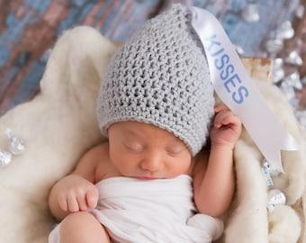 Kisses hat, newborn valentine, newborn hat, kisses newborn, valentine's hat, hersey kisses hat