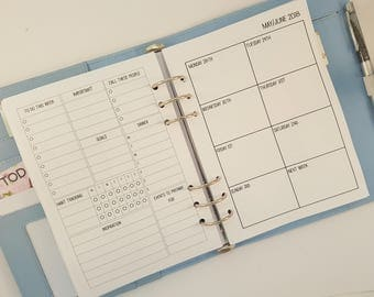 A5 Week on One Page Printed Planner Inserts | WO1P with Weekly Overview  |  Weekly Planner Refill, weekly planner A5 planner inserts Filofax