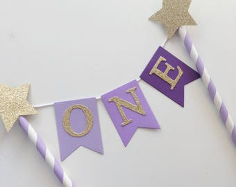 Bunting Cake Topper - 1st Birthday purple ombré with Gold Glitter ONE