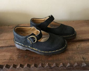 True Vintage Doc Martens The Original Black Suede Mary Janes Made in England 1980s or 1990s, UK 3, US 5